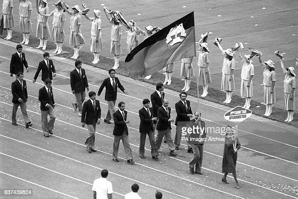 The Afghanistan team parade into the Lenin Stadium Moscow during the opening ceremony The USSR invasion of Afghanistan prompted over 60 countries...