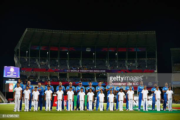 The Afghanistan team sing their National Anthem during the ICC Twenty20 World Cup Group B match between Scotland and Afghanistan at the Vidarbha...