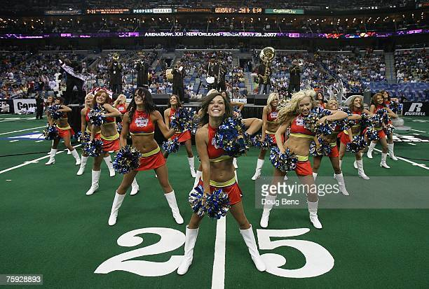 The AFL Aaron's Dream Team Dancers and The Rebirth Brass Band perform during halftime between the Columbus Destroyers and the San Jose SaberCats...