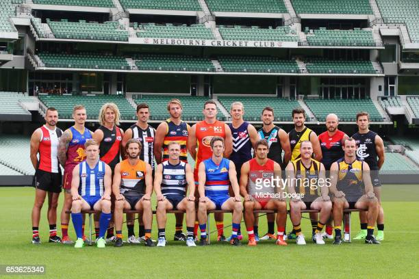 The AFL Captains pose togther in front of the famous members stand during AFL Captains Day at Melbourne Cricket Ground on March 16 2017 in Melbourne...
