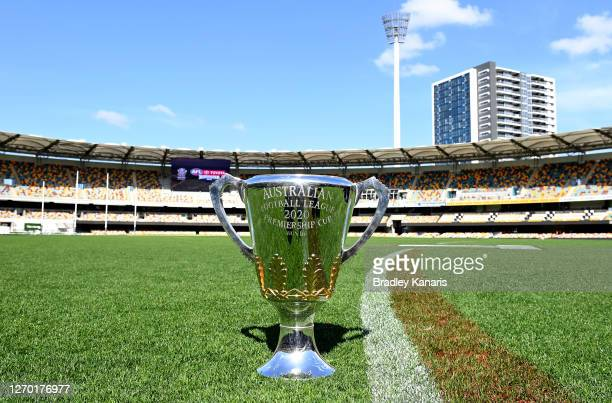 The AFL Premiership Cup is seen after a press conference announcing that the 2020 AFL Grand Final will be played at the Gabba on September 02 2020 in...