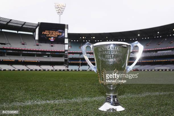 The AFL Premiership Cup is seen during the 2017 AFL Finals Launch at Melbourne Cricket Ground on September 4 2017 in Melbourne Australia