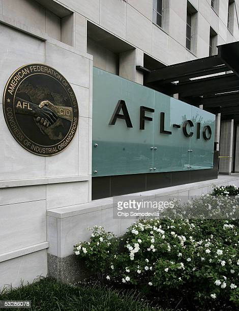 The AFLCIO signage on the building at the intersection of 16th Street NW and Eye Street just two blocks north of the White House is seen July 25 2005...