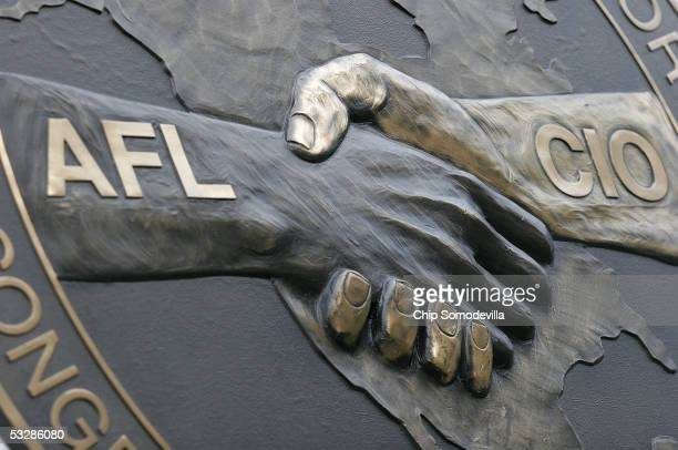 The AFL-CIO signage on the building at the intersection of 16th Street NW and Eye Street, just two blocks north of the White House, is seen July 25,...