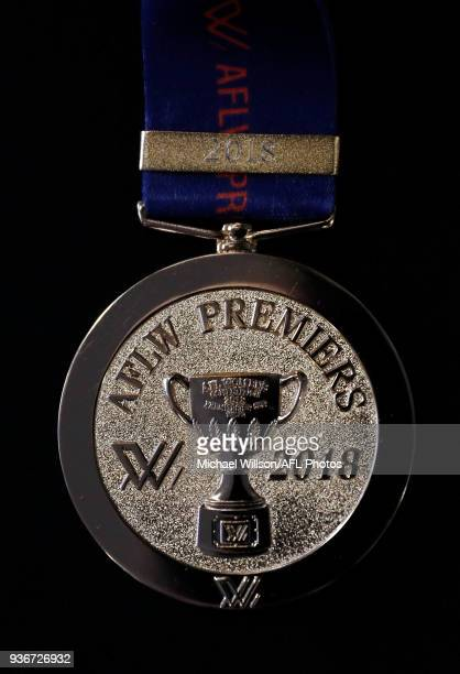 The AFLW premiership medal is seen during the AFLW Grand Final media opportunity at Ikon Park on March 23 2018 in Melbourne Australia