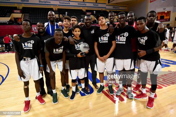 The Africa and Middle East Boys pose for a photo after winning the US Boys Final during the Jr NBA World Championship US Finals on August 11 2018 at...