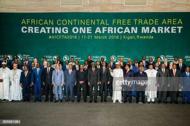 The African Heads of States and Governments pose during African Union Summit for the agreement to establish the African Continental Free Trade Area...