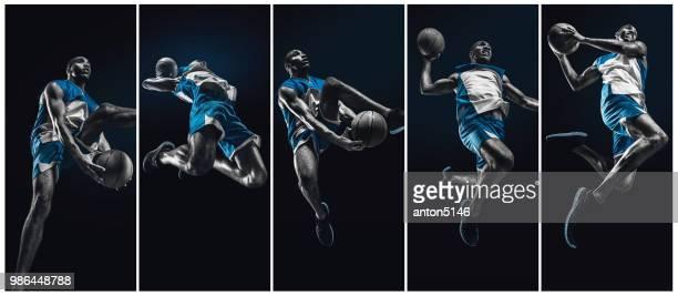 der afrikanische mann-basketball-spieler mit ball springen - studio shot stock-fotos und bilder