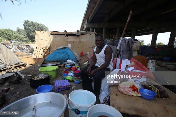The African migrant settles under the bridge of a motorway on the outskirts of Algiers Algeria July 24 2017