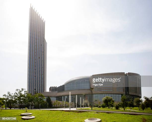 The African Union building captured on May 03 2018 in Addis Ababa Ethiopia Maas is on a three day trip to Ethiopia and Tanzania to hold political...