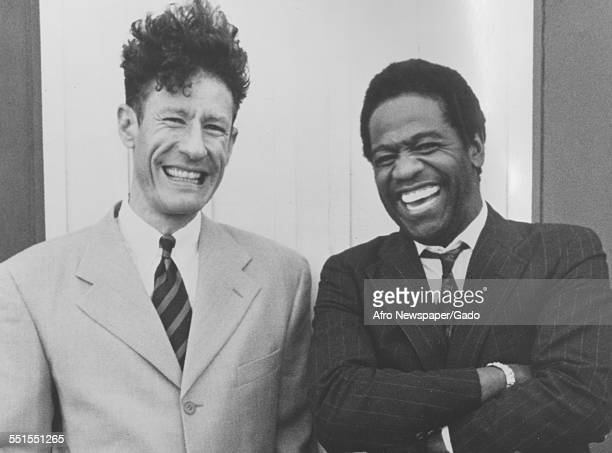 The African-American singer and songwriter Al Green with another man, 1981.