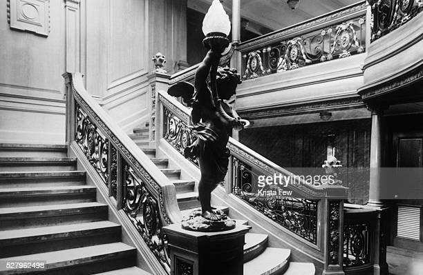 The Aft First Class staircase leading to the a la carte restaurant on the RMS Titanic, the world's most luxurious ocean liner at the time of its...