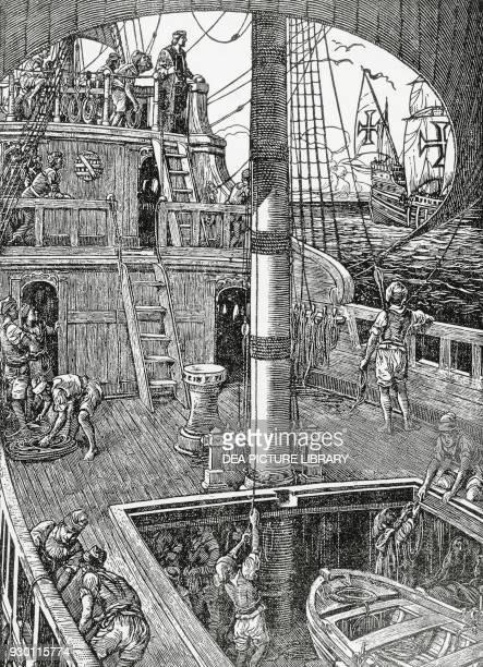 The aftercastle of a Portuguese caravel of the 15th16th century illustration by Alfredo RoqueGameiro for Historia da Colonizacao Portuguesa do Brasil...