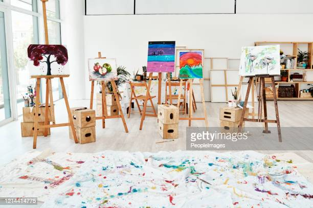 the aftereffect of an art class - art studio stock pictures, royalty-free photos & images