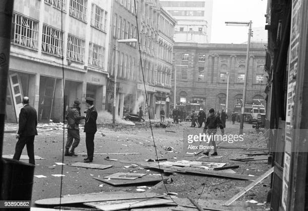 The aftermath of a car bombing on Donegal Street Belfast 14th April 1972 On this day the Provisional Irish Republican Army exploded twentyfour bombs...