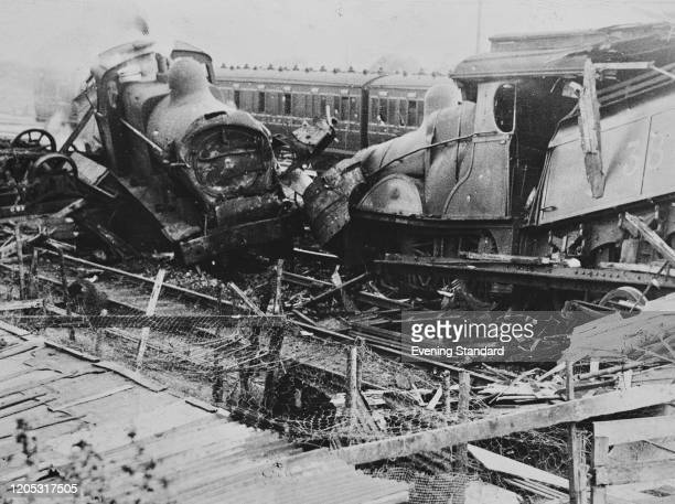 The aftermath of a headon collision between a London Midland Scottish Railway express from Manchester and a goods train at Hope Station Derbyshire...