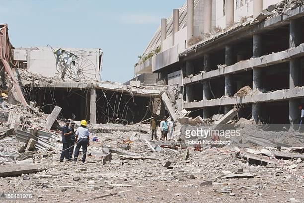 The aftermath of a Liberation Tigers of Tamil Eelam bomb at the Colombo World Trade Centre Sri Lanka November 1997