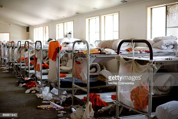 The aftermath of a prison riot inside the California Institution for Men prison is seen on August 19, 2009 in Chino, California. After touring the...