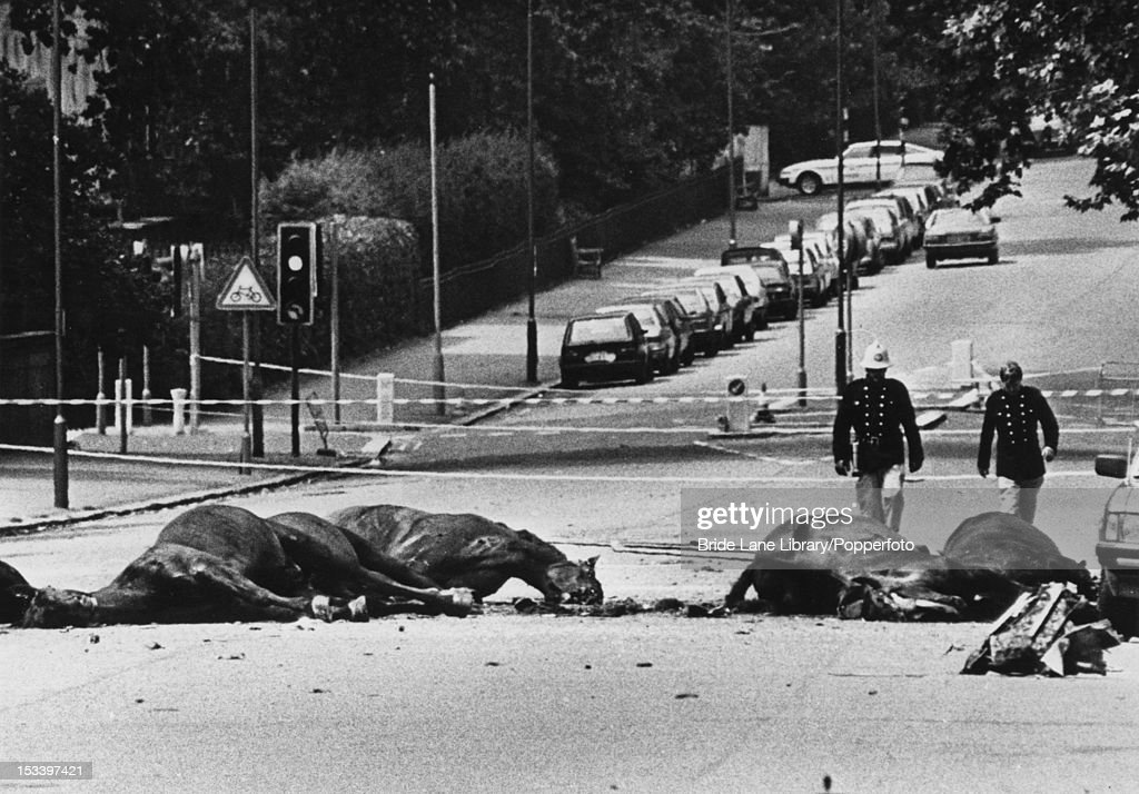 The aftermath of a Provisional IRA car bombing, which killed five soldiers and seven horses on South Carriage Drive in Hyde Park, London, 20th July 1982.