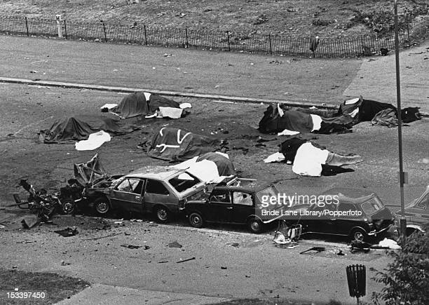 The aftermath of a Provisional IRA car bombing which killed five soldiers and seven horses on South Carriage Drive in Hyde Park London 20th July 1982...