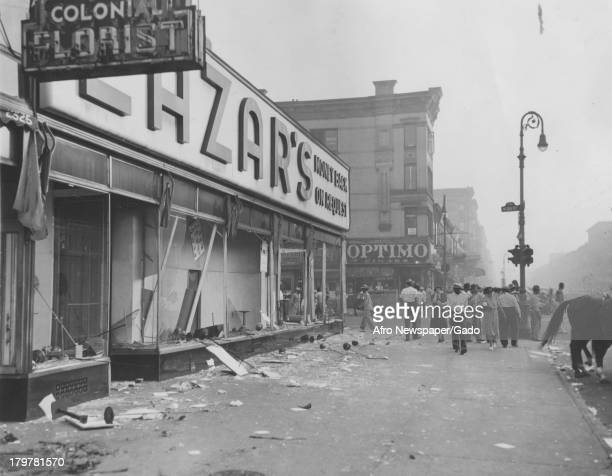The aftermath of a riot at Colonial Florists and Lazar's Department Store Jersey City New Jersey September 7 1943