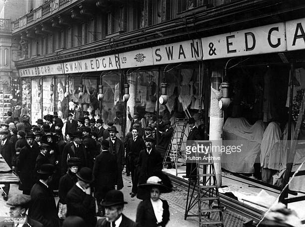 The aftermath of a suffragette windowsmashing spree outside Swan and Edgars department store in the West End of London