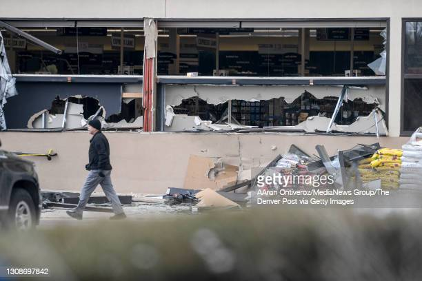 """The aftermath of Monday""""u2019s mass shooting at King Soopers on Tuesday, March 23, 2021. A gunman opened fire at a Boulder King Soopers grocery store..."""