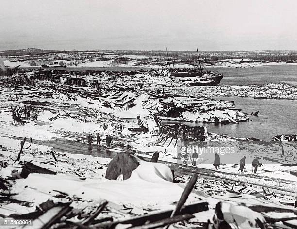 The aftermath of the collision between a Belgian relief vessel and a French munitions carrier in Halifax Nova Scotia harbor in 1917