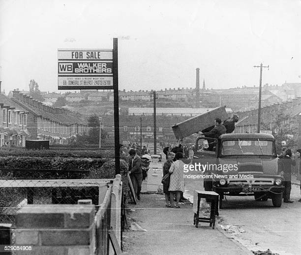 The aftermath of the devastation in Belfast in the Ardoyne district following Internment circa 1971 Photographer Tom Burke