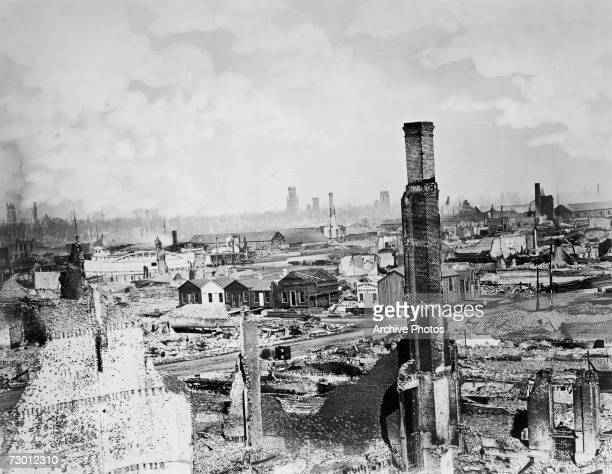 The aftermath of the Great Chicago Fire of 1871.