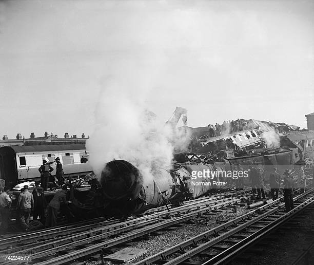 The aftermath of the The Harrow and Wealdstone rail crash a triple collision resulting in 112 deaths at Harrow and Wealdstone Station London 8th...