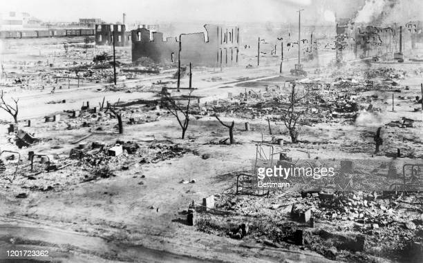 The aftermath of the Tulsa Race Massacre, during which mobs of white residents attacked black residents and businesses of the Greenwood District in...