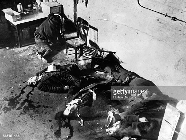 The aftermath of the Valentine's Day Massacre of February 14 1929 Seven members of the O'Banion Moran gang were trapped in a garage lined up against...