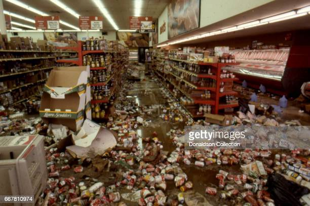 The aftermath of widespread looting at Viva Bargain Center at 172 S Vermont Ave that erupted after the acquittal of 4 LAPD officers in the videotaped...