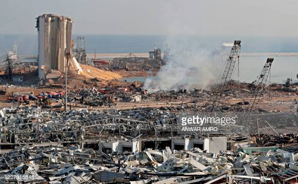 The aftermath of yesterday's blast is seen at the port of Lebanon's capital Beirut, on August 5, 2020. - Rescuers worked through the night after two...