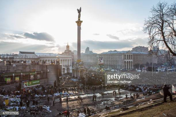 The afternoon sun shines over Independence Square on February 20 2014 in Kiev Ukraine Dozens of protesters were reportedly been killed after violence...
