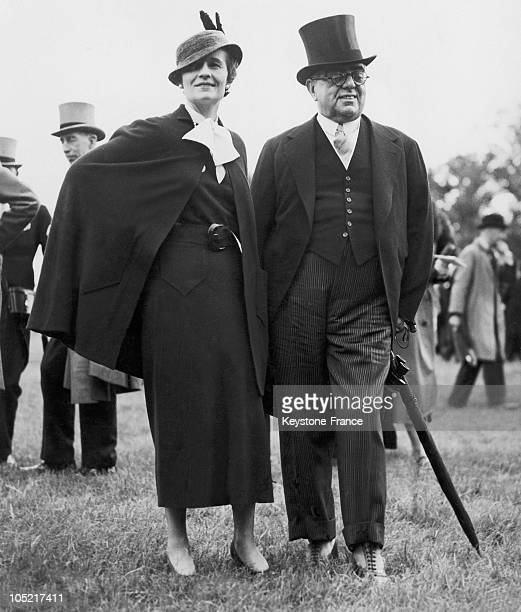 The Aga Khan And Andree Carron At The Race Meeting In United Kingdom In 1935