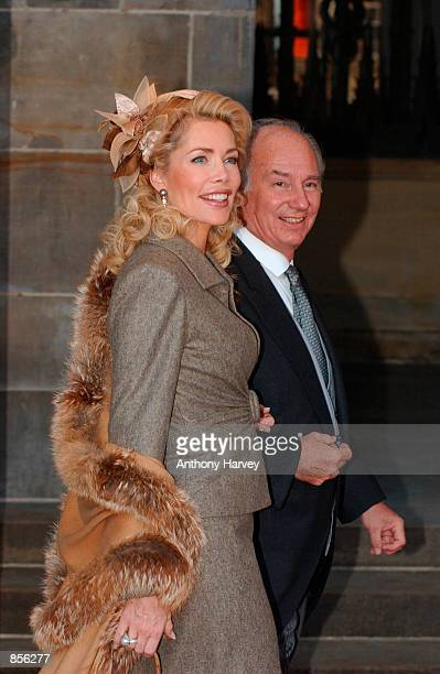 The Aga Khan and his wife arrive for the wedding of Dutch Crown Prince Willem Alexander and Crown Princess Maxima Zorreguieta February 2 2002 in...