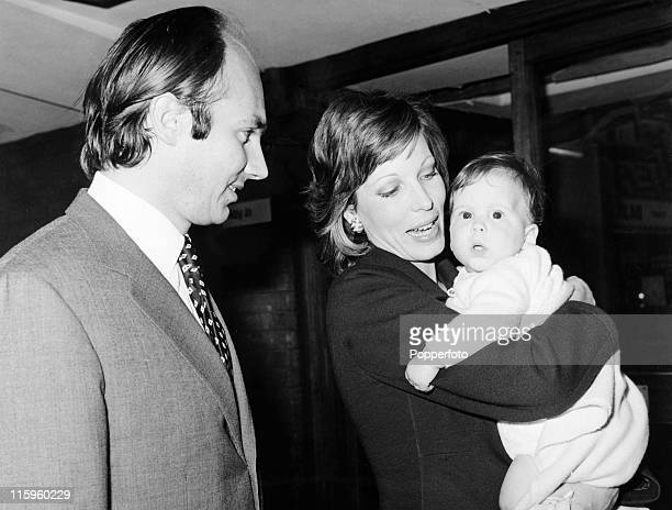 The Aga Khan his wife the Begum Princess Salina and formerly Lady James CrichtonStuart and their daughter Princess Zahra at Heathrow Airport London...