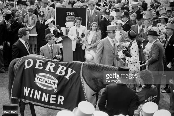 The Aga Khan leads his Nijinsky chestnut colt Shahrastani into the winners enclosure with jockey Walter Swinburne aboard after landing the honours in...