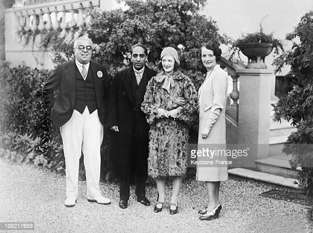 The Aga Khan, The Maharadjah Of Pudukota, His Wife, The Begum In Cap D'Antibes In 1929.
