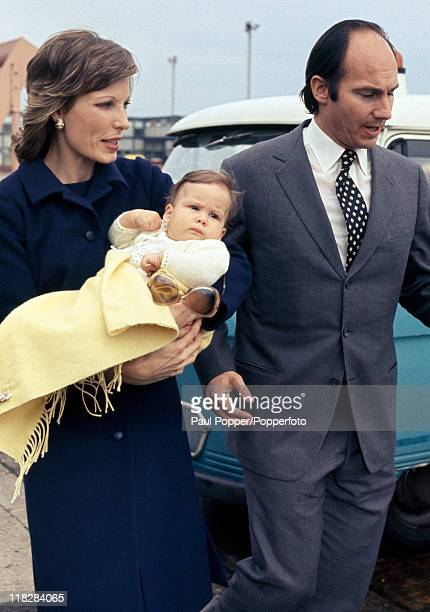 The Aga Khan with his wife Princess Salima and baby daughter Princess Zarha in London circa May 1971
