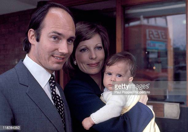 The Aga Khan with his wife Princess Salima and baby daughter Zahra in London circa May 1971