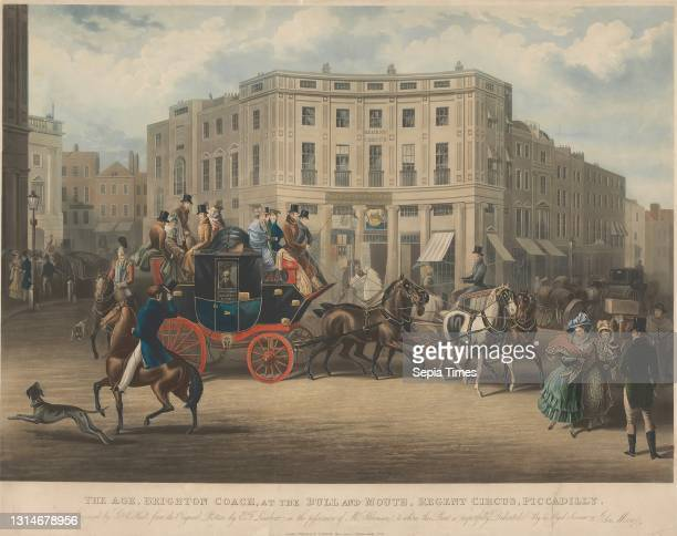 The Age, Brighton Coach, at the Bull and Mouth Regent Circus, Charles Hunt, 1803–1877, British, George Hunt, active 1820–1840, British, after E. F....