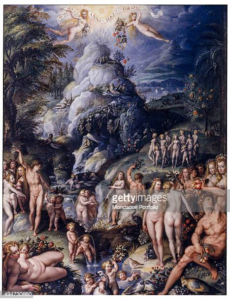 The Age of Gold by Jacopo Zucchi 16th Century oil on board 50 x 39 cm Italy Tuscany Florence Uffizi Gallery Whole artwork view Allegorical scene...