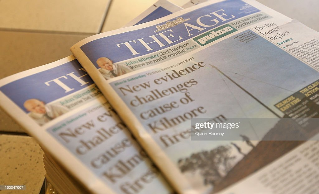 The Age's first compact edition front page is seen on March 4, 2013 in Melbourne, Australia. The Sydney Morning Herald and The Melbourne Age published their first tabloid size editions today, after 180 years of producing weekday broadsheets.