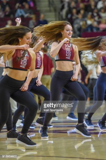 The Aggie Dance Team revs up the crowd during the basketball game between the South Carolina Gamecocks and Texas AM Aggies on February 3 2018 at Reed...