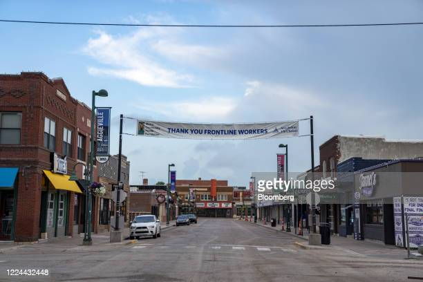 The Aggieville shopping district is seen nearly empty in Manhattan, Kansas, U.S., on Thursday, July 2, 2020. Kansas' top public health official...
