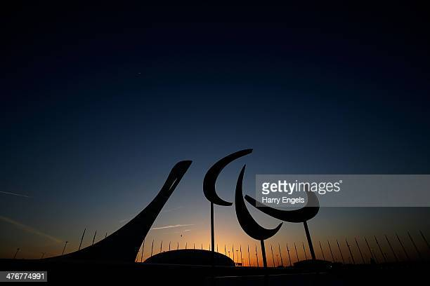 The Agitos is seen at sunset in the Olympic Park ahead of the 2014 Paralympic Winter Games on March 5 2014 in Sochi Russia