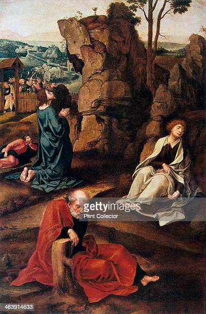 'The Agony in the Garden' 15271530 In the garden of Gethsemane Christ kneels and raises his eyes towards the chalice standing on the outcrop of rock...